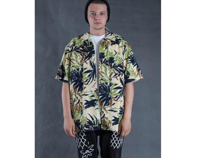 Men's Vintage 90s  short sleeve abstract botanic print collar shirt
