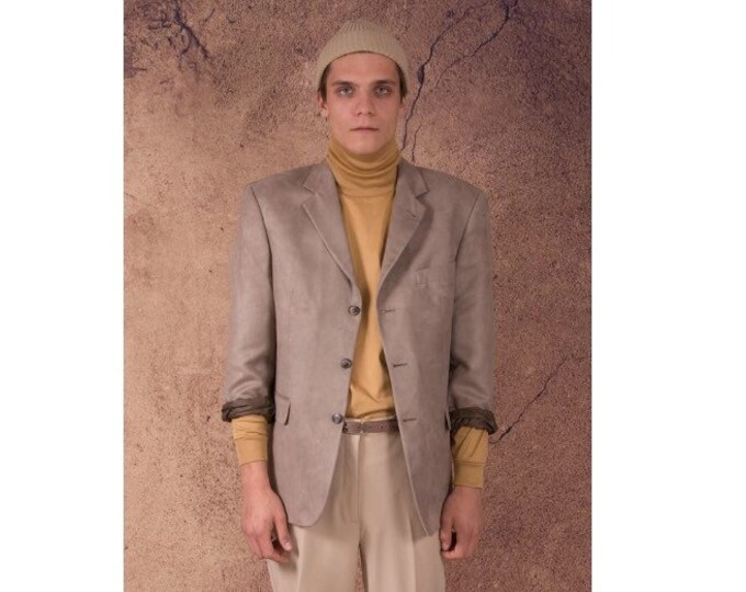 Vintage 90s faux suede, light beige, classic, casual  men's jacket or blazer