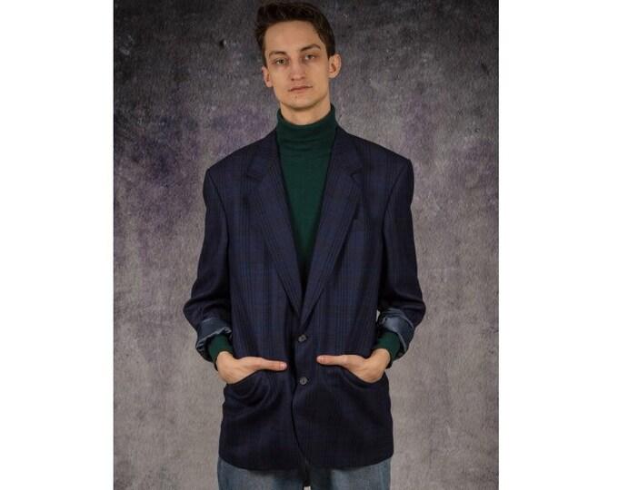 90s vintage navy blue color checkered blazer, grunge men's jacket / Old School / Mooha Menswear