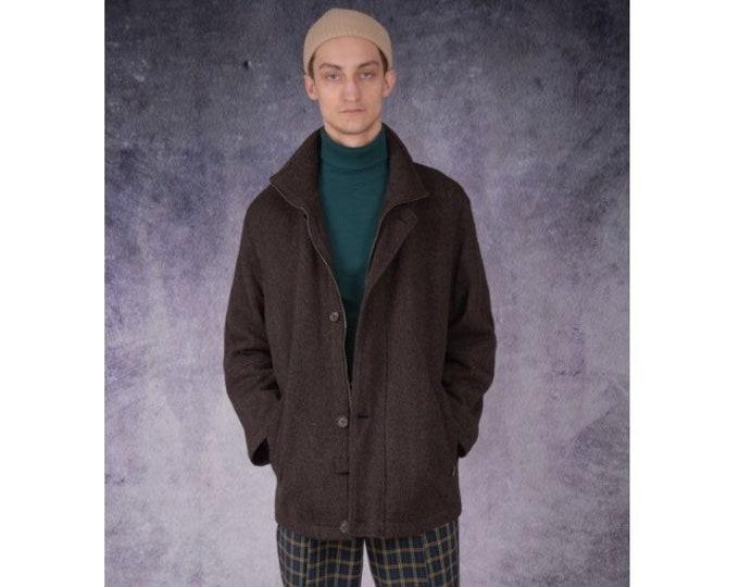 Vintage 90s dark brown wool mens jacket, cardigan / menswear vintage clothing by MOOHA