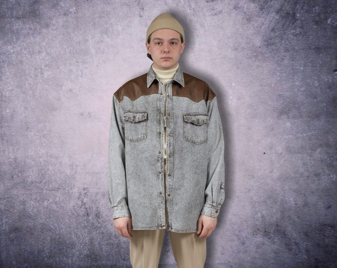 Vintage Arizona 90s men's long sleeve stone washed collar shirt with faux leather details / vintage menswear / vintage clothing size L