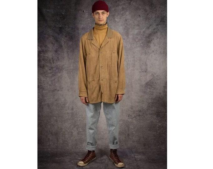 Vintage 90s men's grunge beige genuine suede jacket with buttons closure / Mooha Menswear