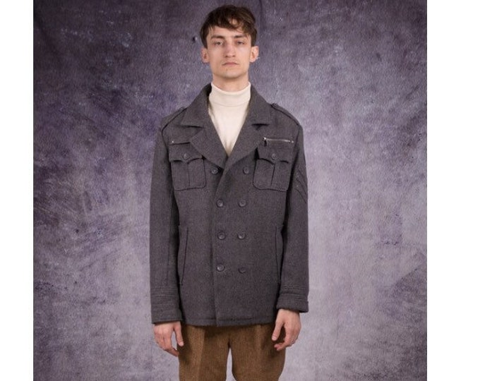 90s jacket, double breasted coat in modern style and grey color / menswear old school clothing