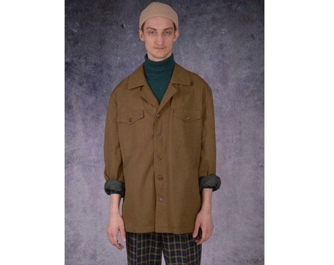 Vintage 90s, classic, minimalistic, casual brown military men's jacket or shirt / MoohaMenswear