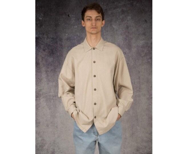 Men's Vintage 90s classic and elegant beige long sleeve collar shirt size L / Mooha Menswear