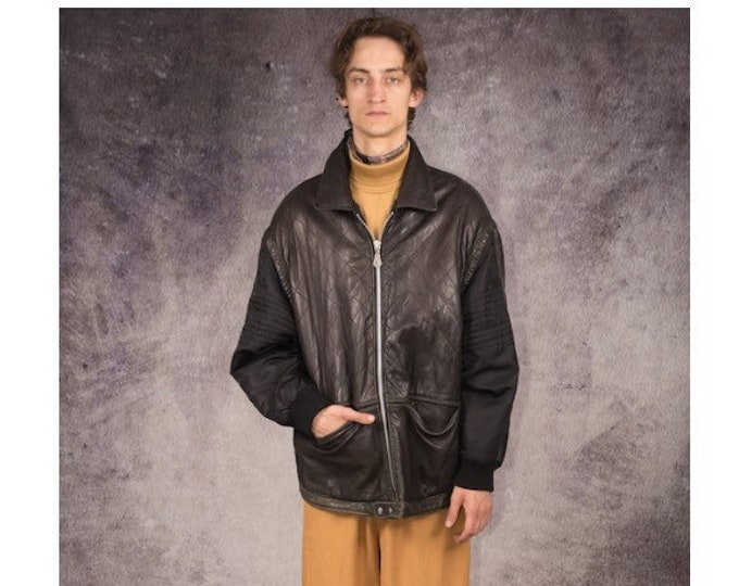 90s leather bomber jacket in grunge style, black and brown color for retro look lovers