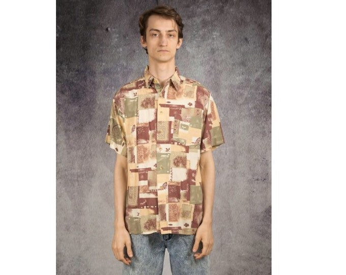 Retro 90s summer shirt with short sleeve abstract artsy print for men size L