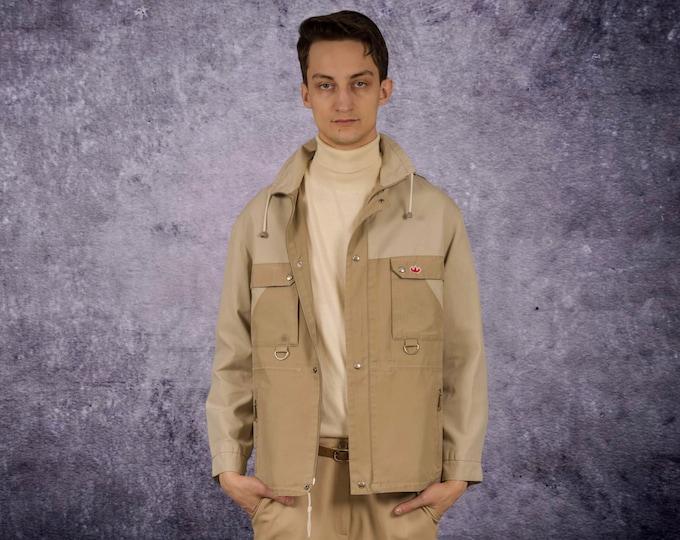 Men's Vintage 90s classic beige and cream color minimalistic casual  windbreaker jacket by MoohaMenswear
