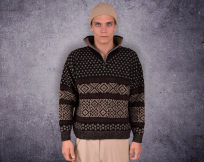 Unique Men's vintage 90s knit sweater / pullover with abstract pattern and high neck with zip • vintage clothing for Men