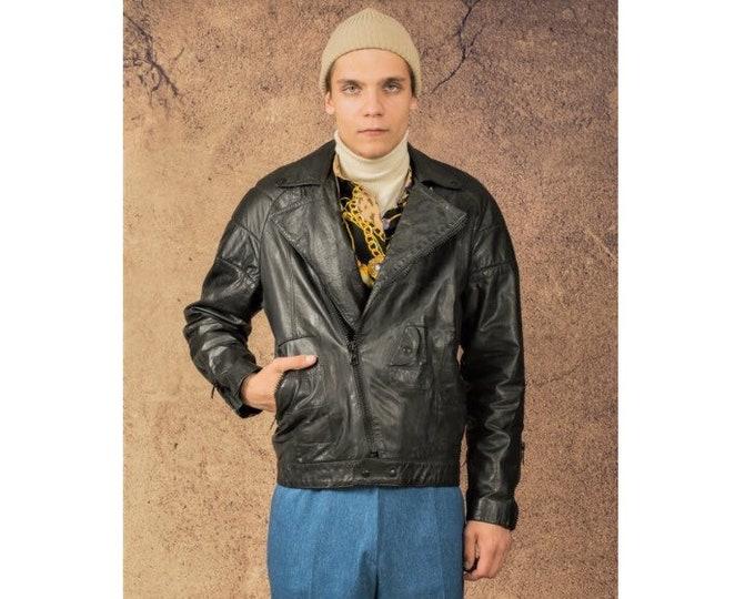 Vintage 80s real leather, classic black casual  men's biker jacket size M