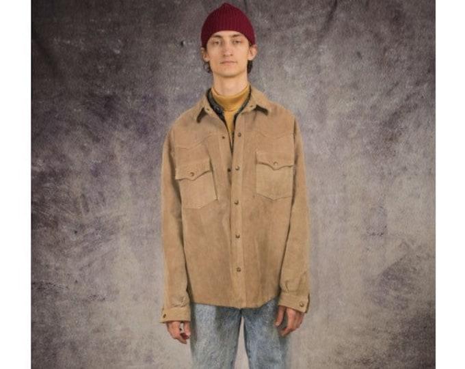 90s suede trucker jacket in beige color / Old School Clothing by Mooha