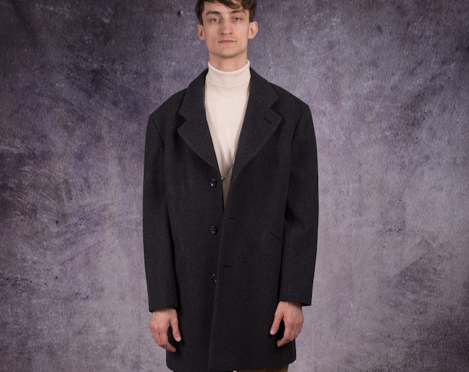 90s short wool coat in minimalist style and dark grey color / menswear vintage clothing