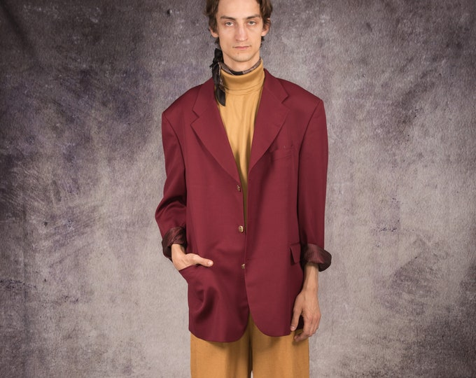 90s wool blazer in formal style, single breasted, in red color for vintage clothing lovers / Mooha Menswear
