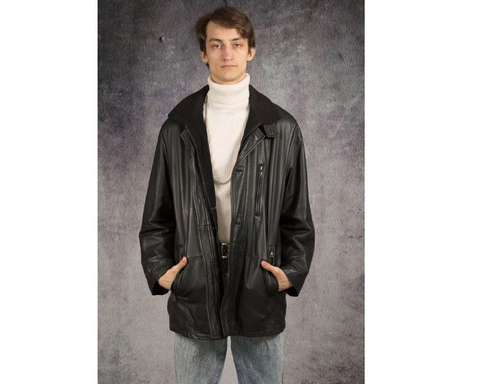 Bugatti Old school 90s black real leather casual men's jacket with double opening/ blazer classic car coat size XL
