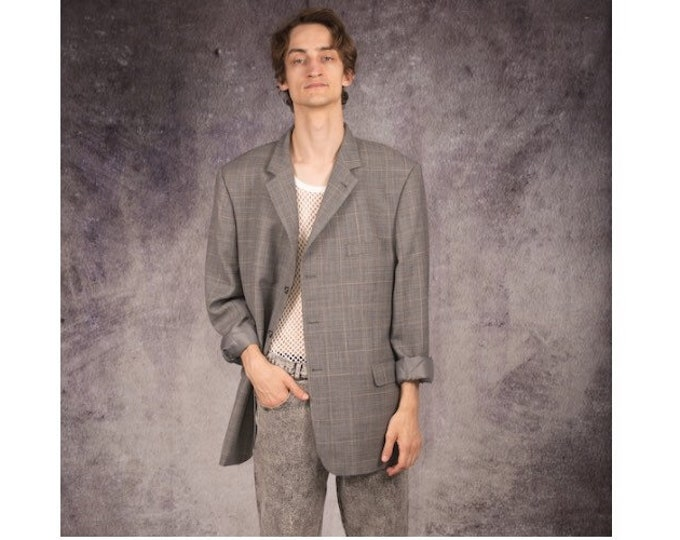 Vintage 90s mens blazer in minimalistic style with checkered pattern in gray color / Vintage clothing by MOOHA