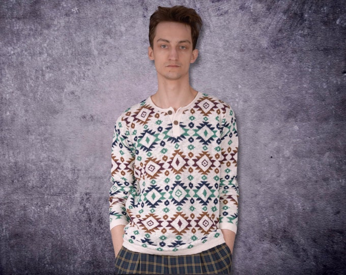 90s vintage men's  grunge slouchy geometric, abstract knit v- neck sweater / jumper for Old School Clothing Lovers