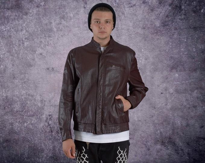 Men's Vintage 90s real leather, classic dark plum color  minimalistic casual  bomber jacket size M  MoohaMenswear
