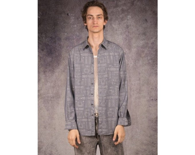 Vintage 90s long sleeve shirt in formal style, with grey and white pattern / Mooha Menswear