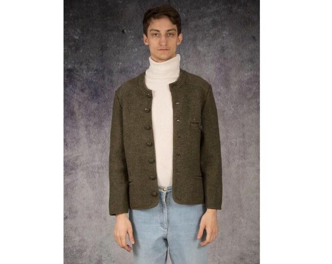 Vintage 90s minimalist, olive colour  / dark green, virgin wool blazer, jacket or cardigan / MOOHA menswear