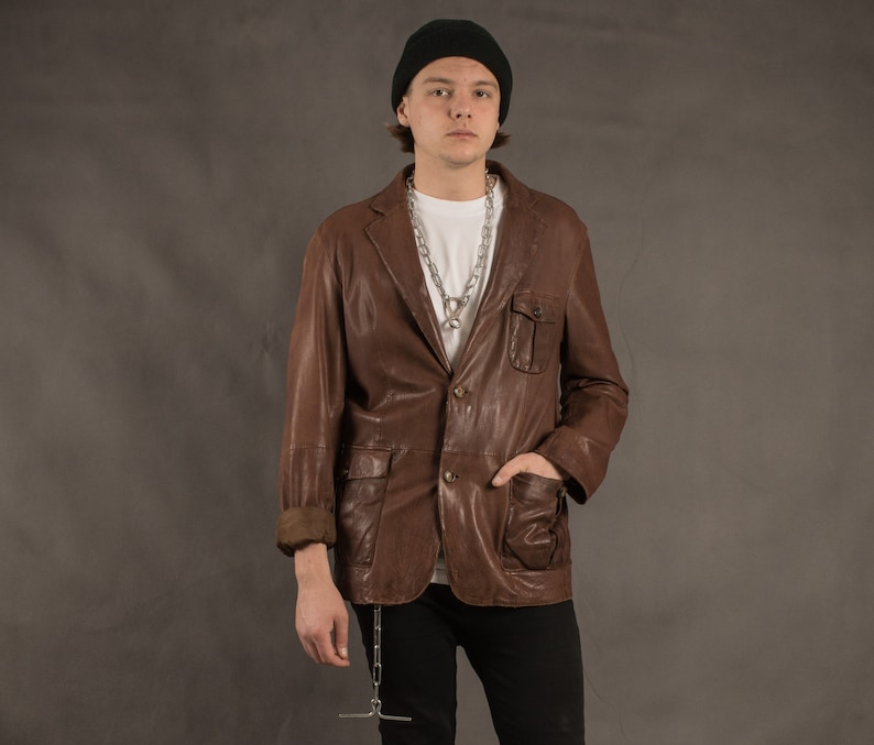 Vintage 90s brown real leather casual men/'s jacket  blazer classic car coat size M