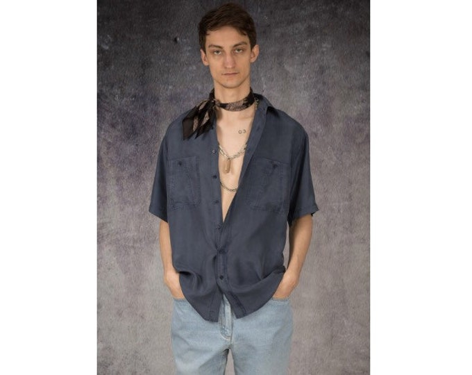 Fantastic retro 90s navy blue pure silk short sleeve silk collar button up shirt / MOOHA menswear