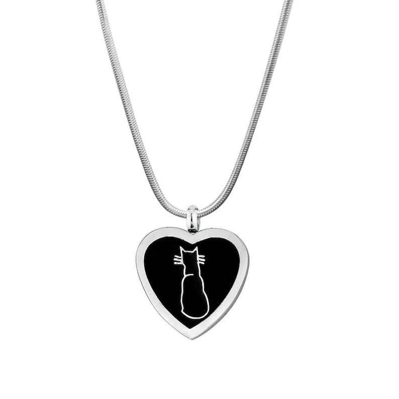MatchaChic Cat Inlay Heart Neckalce Cat Memorial Necklace Loss of Cat Fur baby Lovers Cat Loss Jewelry