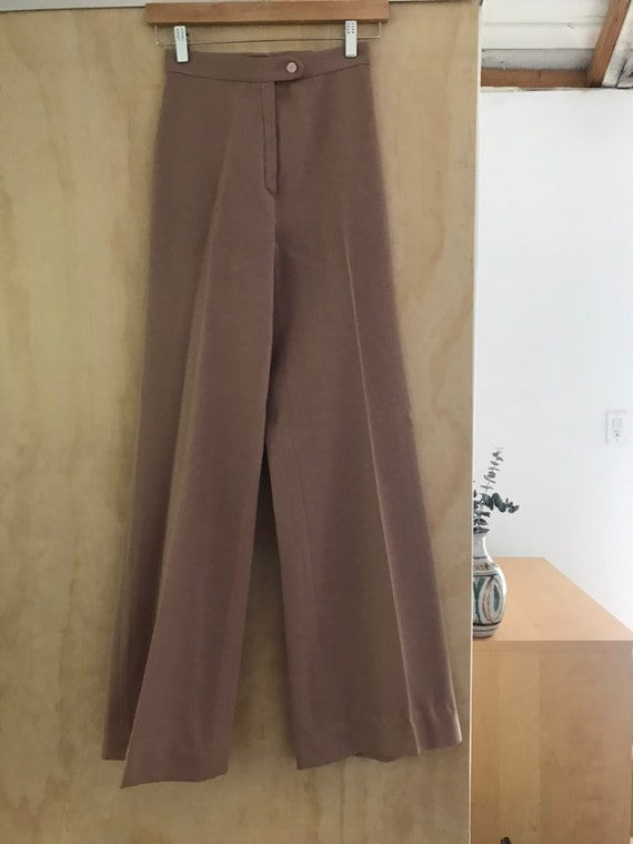 1970s High Waist Wide Leg Trousers Pants