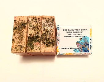 Cocoa Butter Soap/Nettle Leaves/Rosehip Powder/Natural Skincare/Handmade Soap/Natural Skincare/Eco-Friendly Skincare/Sustainable Skincare