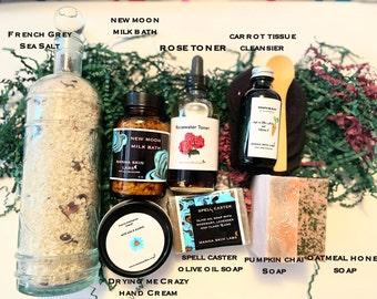 Autumn Equinox Spa Gift Box,French Grey Bath Salts,New Moon Milk Bath,Carrot Tissue Oil,Pumpkin Chai Soap,Winter Skincare,Christmas