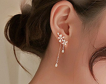 Floral earring, What's Wrong With Secretary Kim, Park Min Young, Front-back Chain Earrings, Korean Earrings,Kdrama jewelry,Gift Wrap E83 E84