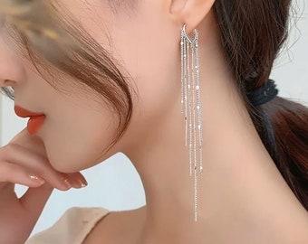 Chandelier Cascade Drop Earrings, Ear Huggie Chandelier Long Earrings, Korean Fashion Jewelry, Bridal Jewelry, Gift, Bridesmaid E88 E89