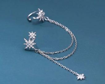 Silver Pave Long Chain with Ear Cuff Earrings, Star Earrings, Korean Fashion Jewelry, Chain Earrings, Wedding, Bridesmaid, Gift Wrap E34