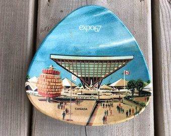 Vintage Ornamold Made In Canada Expo 67 Atomic Triangle Souvenir Dish