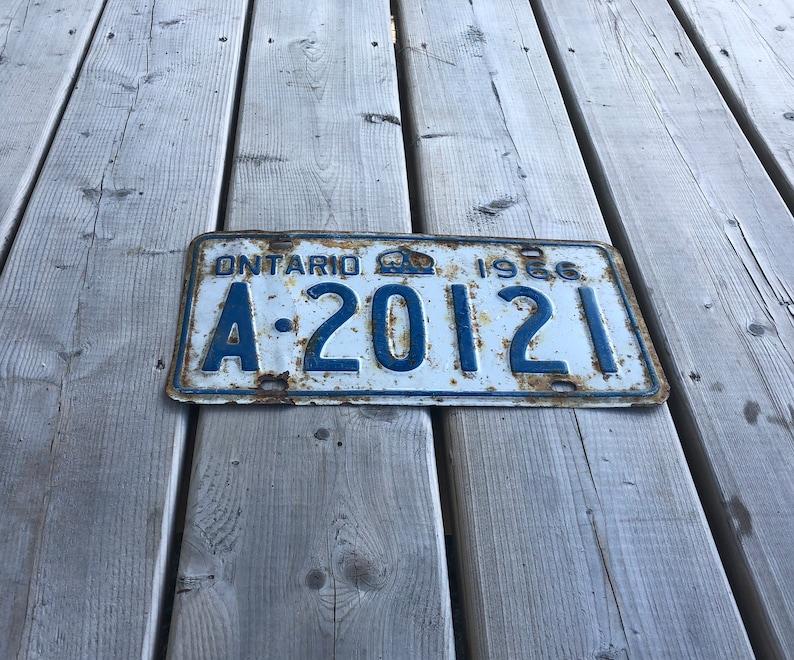 Vintage 1966 Ontario ON License Plate Metal License Plate Garage Car Truck Vintage License Plate