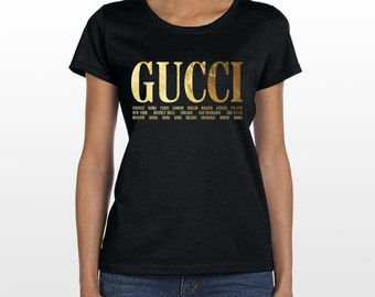 67f7695a362 Gucci Cities Women s T Shirt Top Luxury Inspired Brand New Style 2019  Fashion Famous Hot Summer Look UK Seller Gold Designer Kanye Justin