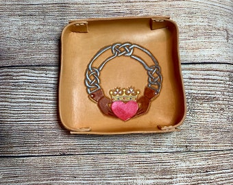 Leather Valet Tray Leather Catchall Change Tray Storage Tray Claddagh Celtic Knot
