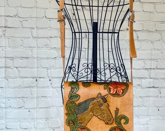 Tooled Leather Horse Purse