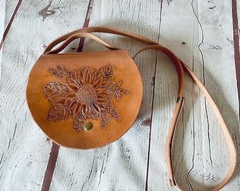 Sunflower tooled leather handbag