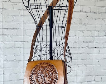 Celtic Leather Saddle Bag Purse