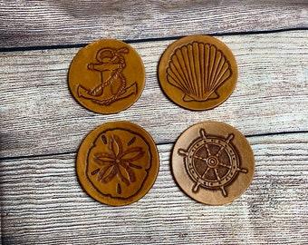 Leather Coasters, Set of 4, Nautical, Beachy