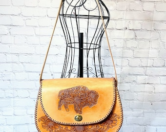 Tooled Leather Purse Buffalo Bison Sunflowers