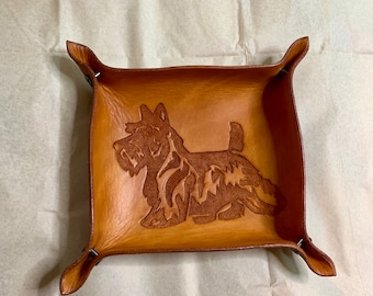 Leather Valet Tray Leather Catchall Change Tray Storage Tray Scottish Terrier