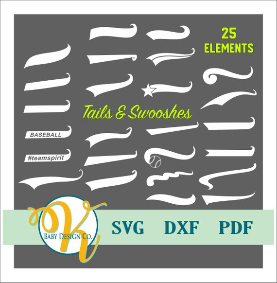Athletic Tails and Swooshes, SVG, Text Tail, Swoosh, Swash, Sports Teams, Baseball tail, dxf, PDF, cut files, vector art