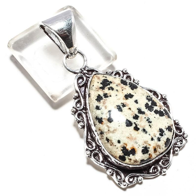 925 Silver Pendant Dalmatian Jasper Gemstone