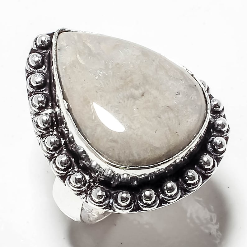 925 Silver Ring Fossil Coral  Gemstone