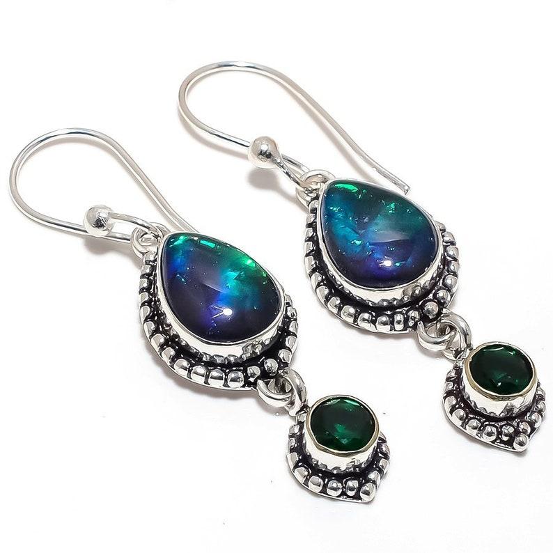 925 Silver Earrings Australian Triplet Opal Gemstone