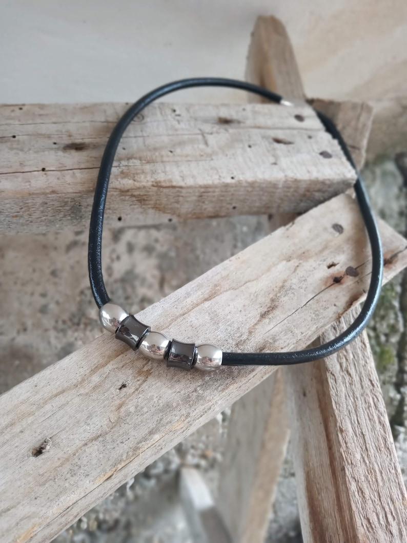 Men/'s leather necklaceBoyfriend necklaceStainless steelGift for himMen/'s accessoriesMen/'s jewelryFor menBoyfriend giftMen/'s necklace