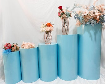 Large Round Glossy Blue Metal Cylinders Pedestal Display Flower Wedding Props Background Party Birthday Decoration Home Celebration