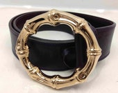 Auth GUCCI Belt Gold-Tone Bamboo Buckle Leather Dark Purple Vintage 6E100100