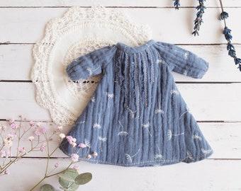 b6a825fa62 Vestido Boheme para Blythe - Diseño rustico - Vestido azul - Vestido para  Neo Blythe - Ropa para blythe y icy hecha a mano - Ropa romantica